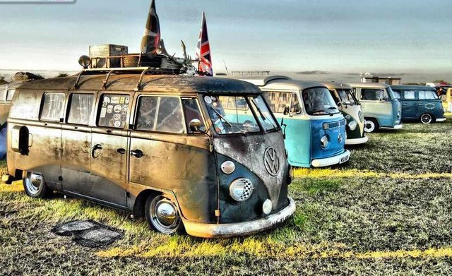 old VW campers parked next to each other