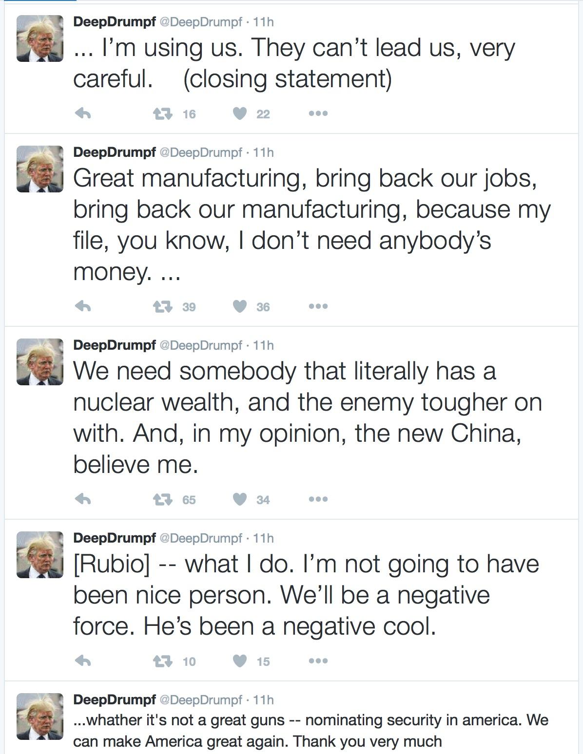 DeepDrumpf-Twitter-bot
