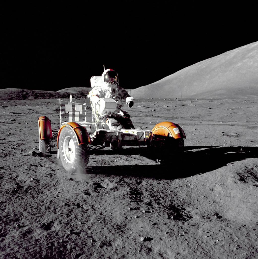 Apollo 17 Commander Gene Cernan on lunar rover